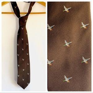 Vintage Chocolate Brown Mallard Duck Mens Tie